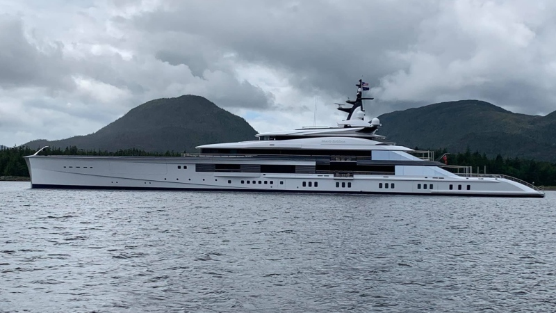 The super-yacht Bravo Eugenia is seen leaving Ketchikan, Alaska, in early July 2020. (Tab McNabb)