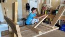 Isaac Young, 15, of Arnprior, Ont. started his own woodworking business after he couldn't find a summer job due to COVID-19. (Dylan Dyson / CTV News Ottawa)