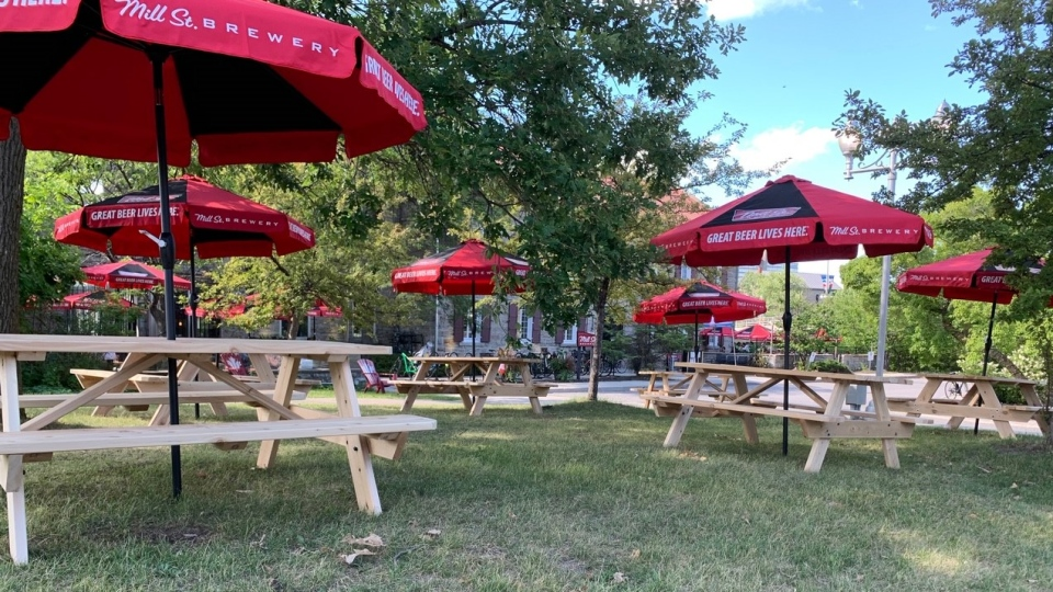 Ottawa's Mill Street Brew Pub bought six picnic tables from Backyard Builder, a company started by 15-year-old Isaac Young, of Arnprior, Ont., after he couldn't find a summer job. (Dylan Dyson / CTV News Ottawa)