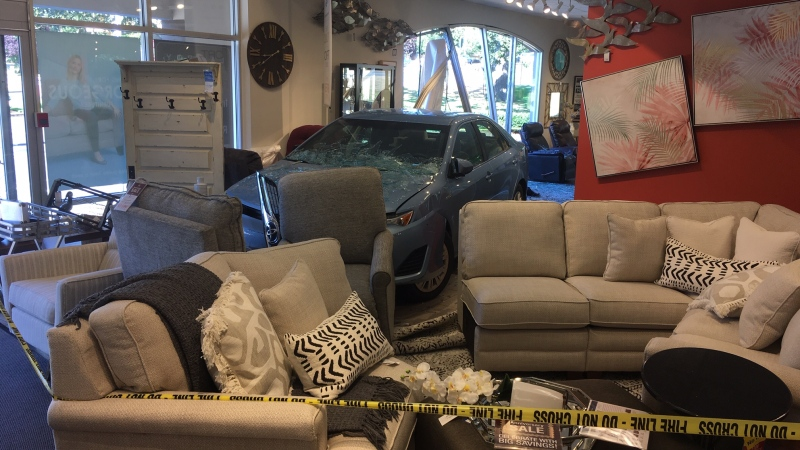 A driver burst through a window at the La-Z-Boy Furniture Galleries on Saanich Road on Wednesday afternoon: (CTV News)