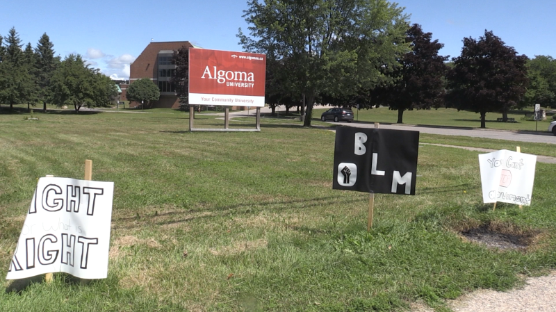 Student Union President Yahaya Alphonse says the signs were lit up at around 1 a.m. Monday, leaving all but three untouched. Aug.5/2020 (Christian D'Avino/CTV News Northern Ontario)