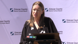 Superintendent of Education, Dawn Stephens, speaks about the Simcoe County District School Board's back to school plan on Wednesday August 5, 2020 (Mike Arsalides/CTV News)