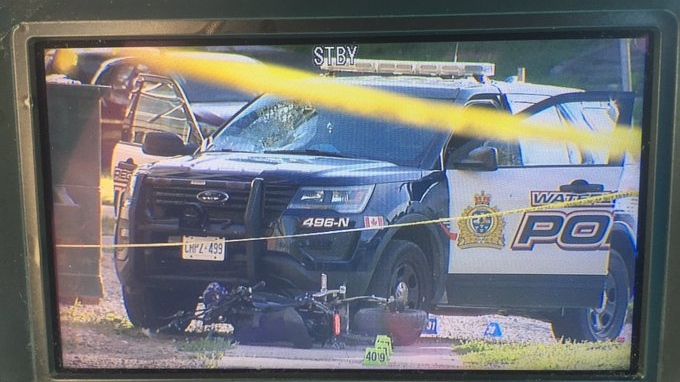 Police say a cruiser and an Ebike collided in Waterloo on Aug. 5, 2020 (Dan Lauckner / CTV News Kitchener)