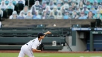Seattle Mariners starting pitcher Marco Gonzales throws against the Los Angeles Angels and in front of rows of likenesses of fans in the seats in the third inning of a baseball game Wednesday, Aug. 5, 2020, in Seattle. (AP Photo/Elaine Thompson)