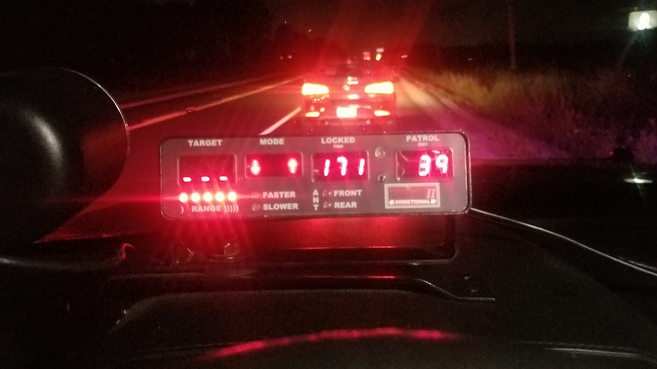 Dashboard in police cruiser shows speed of charged driver in Brant County. (Source: OPP West Region Twitter)