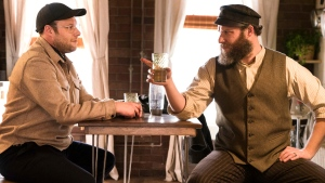 Seth Rogen portraying Ben Greenbaum, left, and Herschel Greenbaum in a scene from 'An American Pickle.' (Hopper Stone / HBO Max via AP)