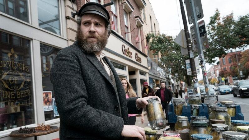 Seth Rogen in a scene from 'An American Pickle.' (Hopper Stone / HBO Max via AP)