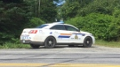 An RCMP vehicle is seen in Musquodoboit Harbour, N.S., as police seek an armed suspect on Aug. 6, 2020.