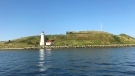 Georges Island, a national historic site, is seen in Halifax harbour on Aug. 14, 2019. (Andrea Jerrett/CTV Atlantic)