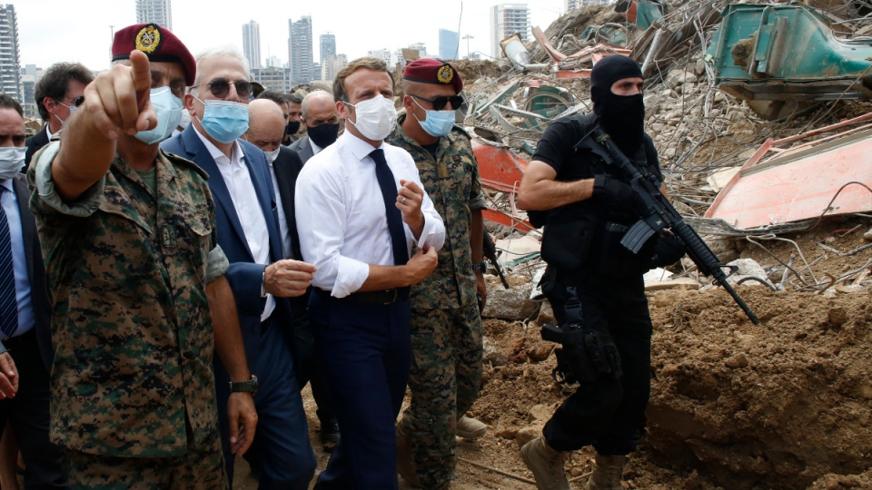 French President Macron, centre, in Beirut