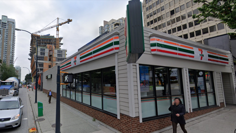 The 7-Eleven on Davie Street is shown in an image from Google Street View.