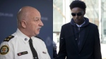 Toronto's Interim Police Chief James Ramer (right) and Dafonte Miller (left) are seen in this composite image. (The Canadian Press)