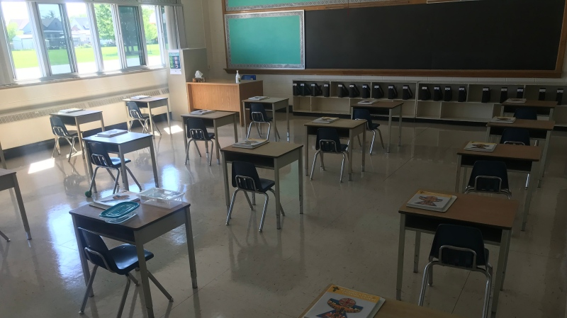 Desks are spread out at St. Joseph Catholic Elementary School in Amherstburg, Ont. on Thursday, Aug. 6, 2020. (Rich Garton / CTV Windsor)