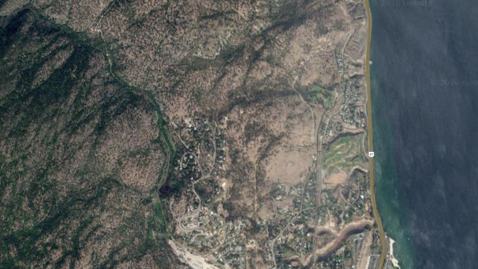 A stretch of Highway 97 is seen in an image from Google Satellite View.