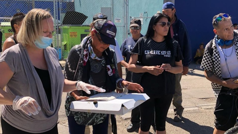Members of Boyle Street's community got pizza from the Vegas Golden Knights on Wednesday, Aug. 5, 2020. (Facebook/Boyle Street Community Services)