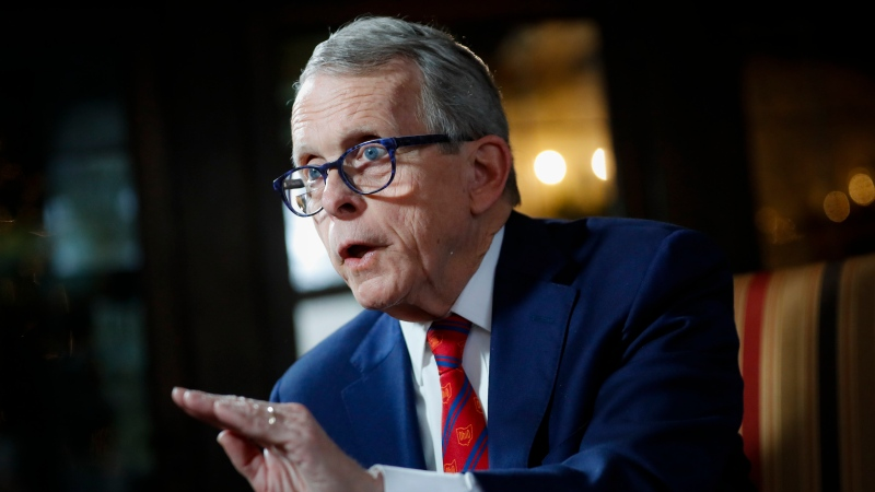 In this Dec. 13, 2019, file photo, Ohio Gov. Mike DeWine speaks during an interview at the Governor's Residence in Columbus, Ohio. (AP Photo/John Minchillo)