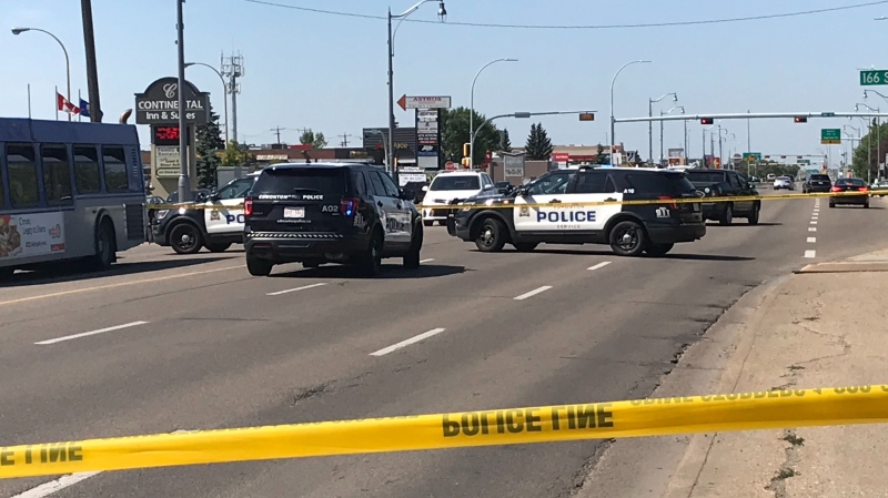 Police closed off an area of Stony Plain Road near 166 Street Aug. 6, 2020. Few details were immediately available about what happened, however, a body was seen underneath a tarp at the location.
