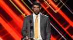 Michael Phelps accepts the award for best record-breaking performance at the ESPYS on July 12, 2017, in Los Angeles. (Photo by Chris Pizzello/Invision/AP, File)