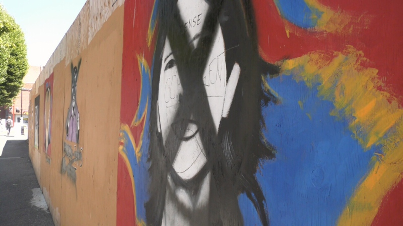 Murals that celebrate health-care workers in downtown Victoria will undergo repairs after they were recently defaced: (CTV News)
