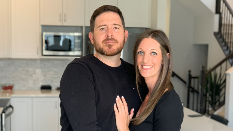 Ryan Hughes and Rhiannon Renaud say they're out thousands of dollars for a wedding that isn't happening this month due to the COVID-19 restrictions.  (Saron Fanel/CTV News Ottawa)