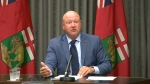 Dr. Brent Roussin, Manitoba's chief provincial public health officer, answers a question about COVID-19 at the Manitoba Legislative Building on August 6, 2020.