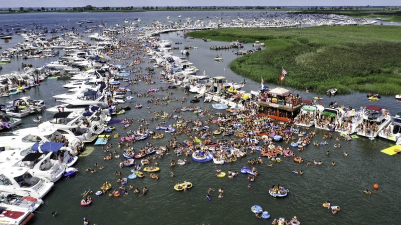 "Boats gathered at ""Raft Off"" boat party in 2019. (source Raft Off event Facebook Page)"