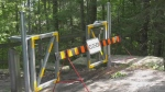 Gate blocking beach access because of storm cleanup in Barrie, Ont. on Thursday August 6, 2020 (Lexy Benedict/CTV News)