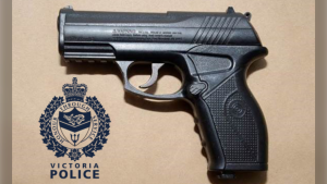 The pellet gun that is believed to have been used to shoot windows at Victoria City Hall and the McPherson Playhouse is shown: (Victoria Police)