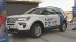 A vehicle branded with the Surrey Police Service decals is on display as officials work to get the city's new police service running.