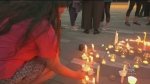 A vigil held in Vancouver for victims of the Beirut explosion is seen in this file photo. Victoria's Lebanese community is planning a vigil for Sunday night.