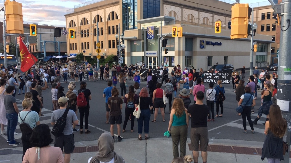 Groups gather in Uptown Waterloo on Aug. 6, 2020 (Terry Kelly / CTV News Kitchener)