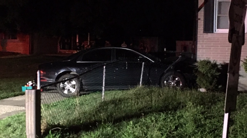 A vehicle hit a home in Kitchener on Aug. 6, 2020 (Terry Kelly / CTV News Kitchener)