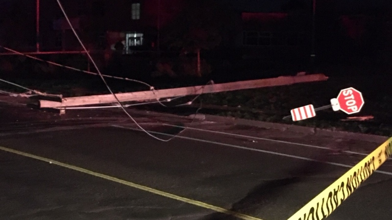 A hydro pole was knocked down after a crash on Aug. 6, 2020 (Terry Kelly / CTV News Kitchener)
