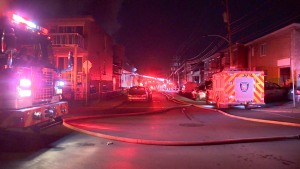 A suspicious fire in Montreal North destroyed six cars and damaged two buildings / Cosmo Santamaria, CTV Montreal