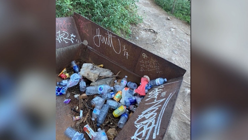 Officials at many Alberta provincial parks are dealing with excessive amounts of garbage left behind by neglectful visitors. (Supplied/Canmore Nordic Centre Provincial Park)