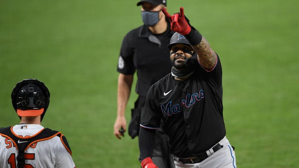 Miami Marlins' Jonathan Villar celebrates a homer