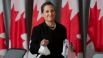 Deputy Prime Minister and Minister of Intergovernmental Affairs Chrystia Freeland wears her mask on her wrist as she arrives at a news conference Tuesday June 9, 2020 in Ottawa. THE CANADIAN PRESS/Adrian Wyld