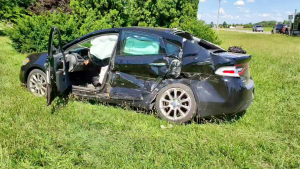 Norfolk County OPP are crediting the quick thinking of a transport truck driver in a crash involving a sedan. (@OPP_WR/Twitter) (August 7, 2020)