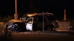 A vehicle involved in a collision on Highway 99 in Surrey on Aug. 6, 2020.
