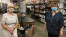 Helping Hand Food Bank Interim Coordinator Brenda Fitzgerald and retiring Coordinator Joan Clarkson are seen in Tillsonburg, Ont. on Friday, Aug. 7, 2020. (Sean Irvine / CTV News)