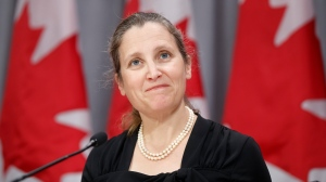 Deputy Prime Minister Chrystia Freeland speaks during a press conference in Toronto, Friday, Aug. 7, 2020. THE CANADIAN PRESS/Cole Burston