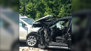 Two vehicles collided on Terry Fox Drive near Old Second Line Road Friday, Aug. 7, 2020, sending three people to hospital in critical condition. (Photo: Ottawa Fire Services)
