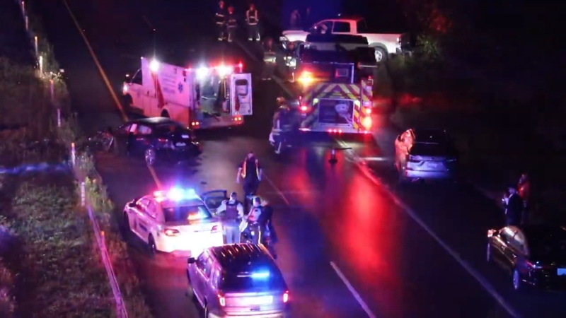 A major collision closed a stretch of a Surrey highway on Aug. 6, 2020.