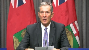 Premier Brian Pallister speaks to media on August 7, 2020.