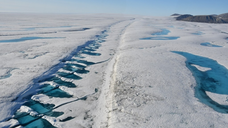 A rift in the Milne Ice Shelf on Ellesmere Island is shown in a 2019 handout photo. The Canadian Ice Service says a huge chunk has broken off Canada's last fully intact ice shelf on the northwest coast of Nunavut's Ellesmere Island. The Milne Ice Shelf is 40 per cent smaller after the split that began late last month. THE CANADIAN PRESS/HO-Carleton University-Derek Mueller