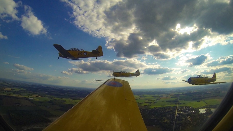Planes fly through a training exercise (Courtesy: Waterloo Warbirds)