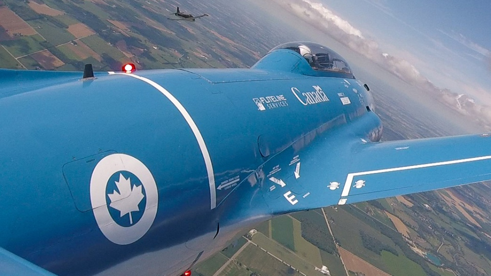 A BAE Strikemaster flying over Waterloo Region in this photo from the Waterloo Warbirds.