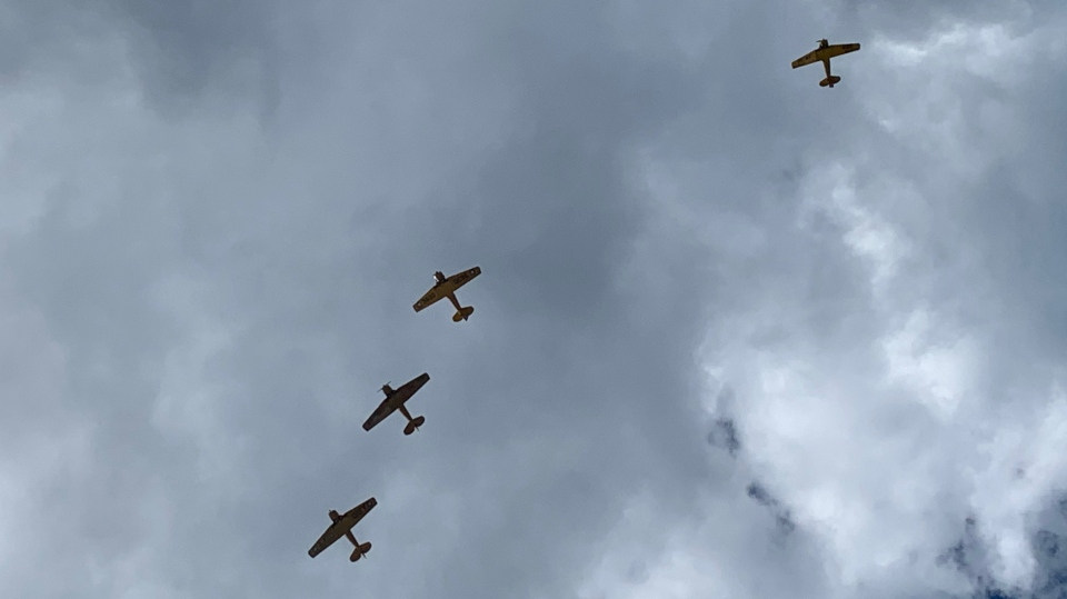 Harvard aircraft in the sky