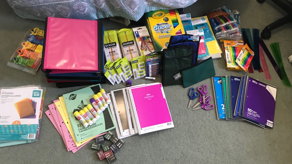 Kingston's Katie Onesi is filling backpacks with school supplies to give away before the start of the school year. (Kimberley Johnson / CTV News Ottawa)