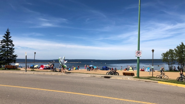 The beach at Waskesiu Lake is pictured August 7, 2020. (Lisa Risom/CTV Prince Albert)